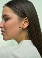 jewels,maria black,transversal,neo,gold,creole,earrings,piercing,danish,minimalist