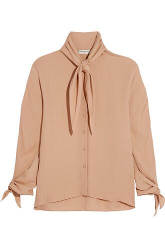 blouse bow silk neutral top