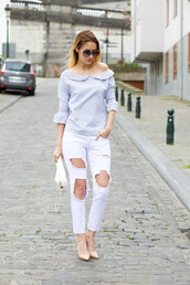 from brussels with love,blogger,shirt,jeans,shoes,bag,white jeans,boyfriend jeans,ripped jeans