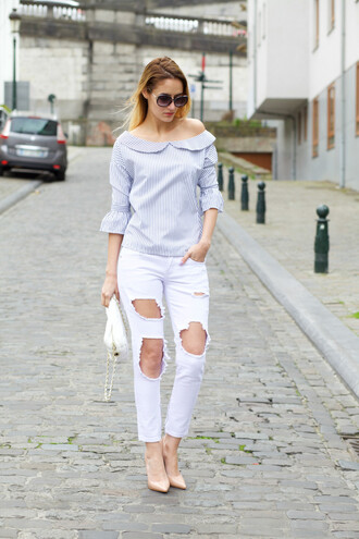 from brussels with love blogger shirt jeans shoes bag white jeans boyfriend jeans ripped jeans