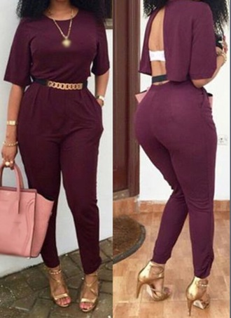 jumpsuit jumper back out open back romper burgundy