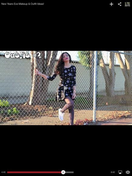 black long sleeve dress stars skater dress