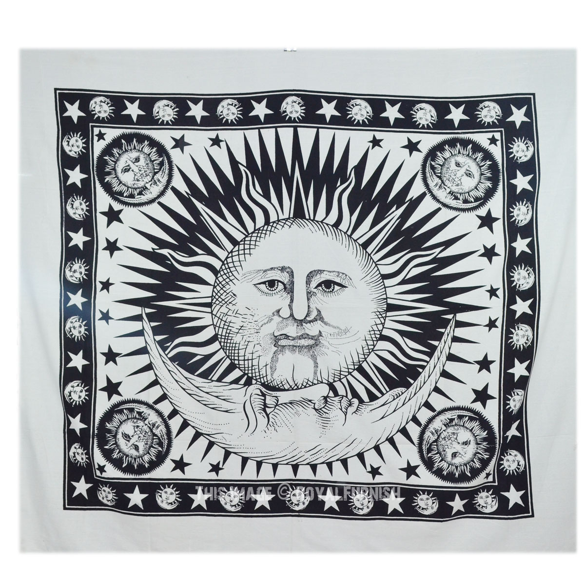 Black And White Sun And Moon Stars Tapestry Wall Hanging