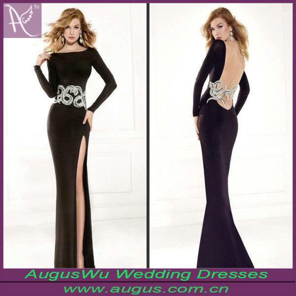 cristal perlé ae192 fourreau sexy voir à travers la fente latérale arrière à manches longues robe de soirée-Jupe extra large-Id du produit:60056031287-french.alibaba.com