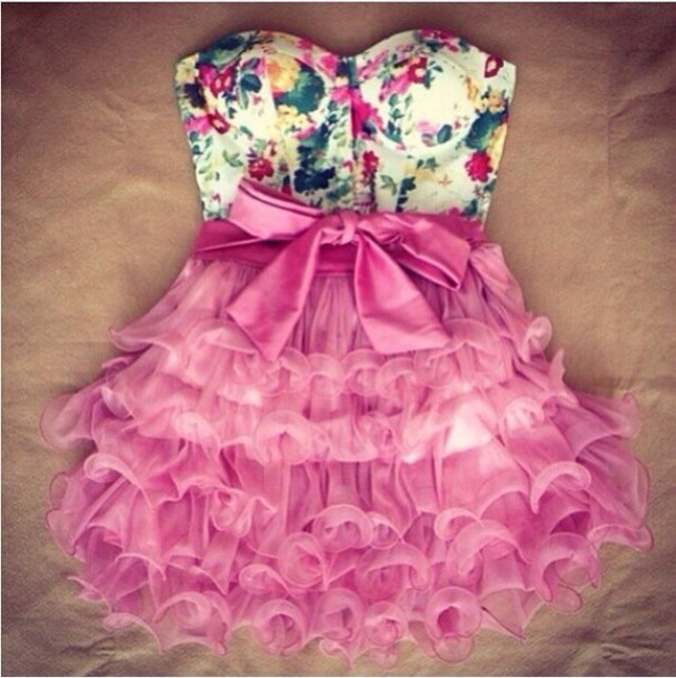 Dress Pink Pink Dress Floral Floral Dress Girly Spring Summer Strapless Dress Cute