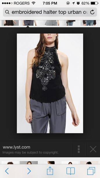 tank top urban outfitters embroidered halter top halter neck top