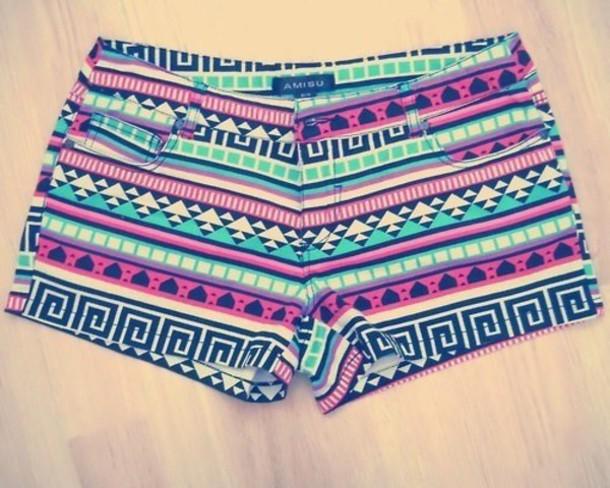shorts tribal pattern tribal shorts pants short aztec color/pattern cute mini shorts multicolor aztec tribal pattern shorts