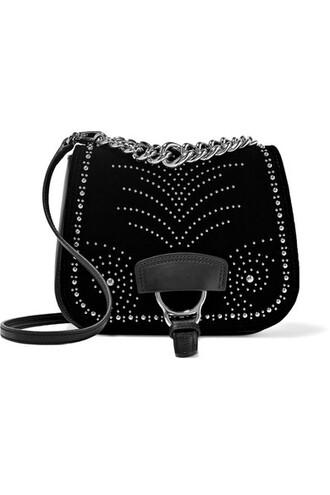 studded bag shoulder bag leather black velvet