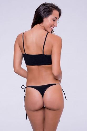 swimwear black bikini bottoms cheeky thong bikiniluxe