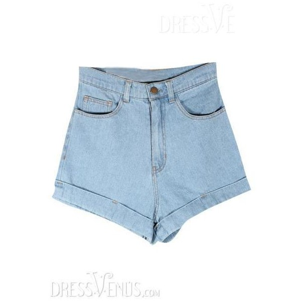 Fashion Retro Pure Color Empire High Qulity Denim Shorts