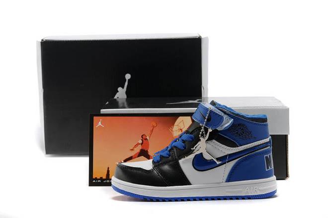 Blue/White/Black- Jordan 1 Phat Youth Kids Basketball Shoe -  $95.69 -  Jordan Kids Shoes Retro 1