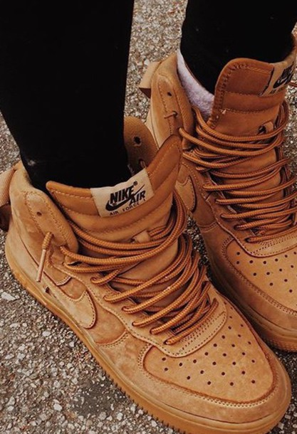 shoes, suede, wheat nike, high top