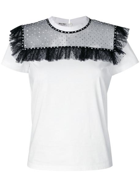 Miu Miu t-shirt shirt t-shirt ruffle women embellished white cotton top