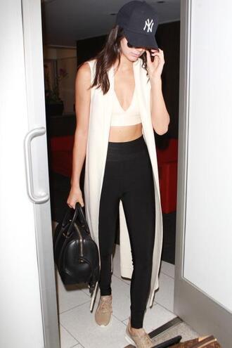 leggings kendall jenner vest sneakers sunglasses purse shoes