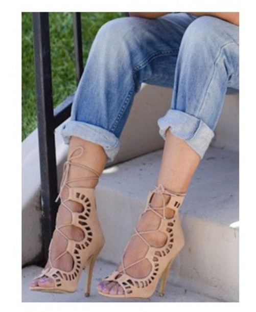shoes mid heel open heels pattern