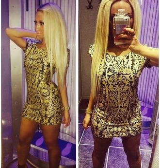 mini dress blonde hair fashion t-shirt dress gold