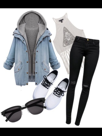 sweater blue gray blue hoodie two hoodies gray hoodie shirt shoes sunglasses jeans