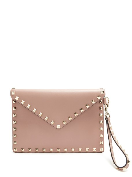 Valentino envelope clutch clutch leather nude bag