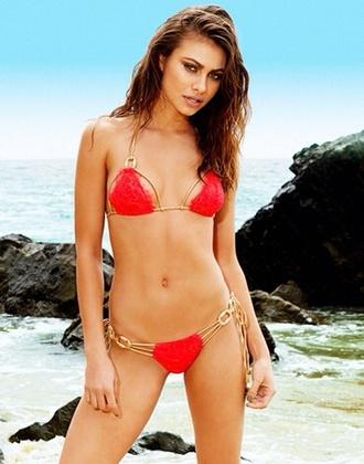 swimwear bikini sexy bikini red chain