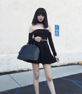 shirt black off the shoulder top skirt outfit