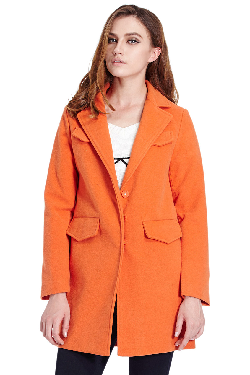 ROMWE | Pocketed Long Sleeves Slim Orange Coat, The Latest Street Fashion