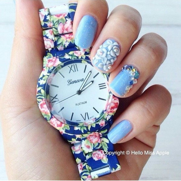 nail accessories flowers rose watch