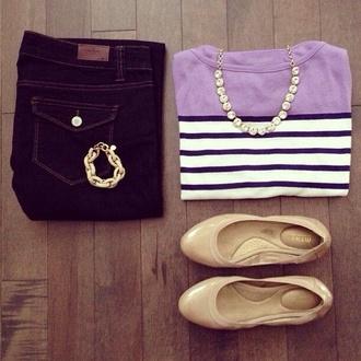 blouse purple stripes long sleeves shoes flats nude jewels necklace bracelets
