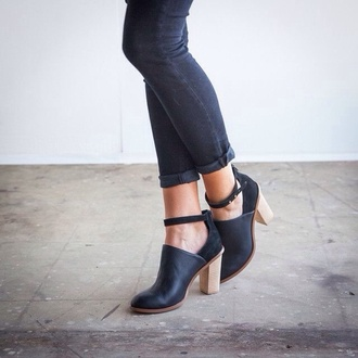 jeans skinny shoes black leather high heels booties boots blue boots leather shoes wooden heel minimalist black heels minimalist shoes ankle strap boots stacked wood heel round toe boots ankle boots black leather booties cutout booties ankle strap booties black booties