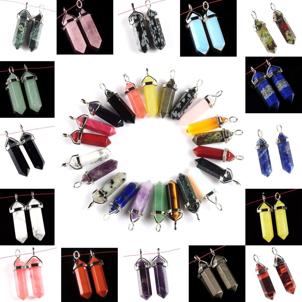 25 choices gemstone rock crystal healing point chakra pendant beads 25 choices gemstone rock crystal healing point chakra pendant beads pair 40mm ebay aloadofball