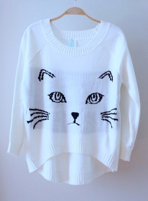 sweater cats cute kawaii girly fashion style cat face white clothes casual fall outfits winter sweater winter outfits comfy teenagers korean fashion