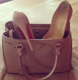 prada bag nude high heels christian louboutin nude bag