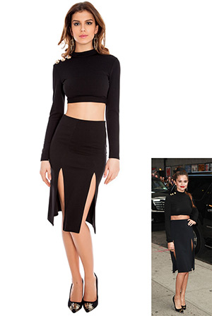 Double Split Midi Skirt in the style of Selena Gomez