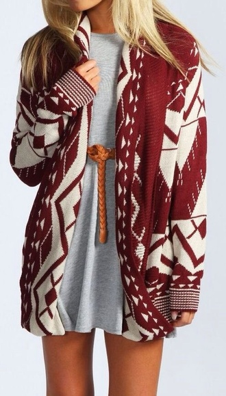sweater cardigan oversized cardigan knitted cardigan long cardigan aztec red cute fall outfits winter sweater