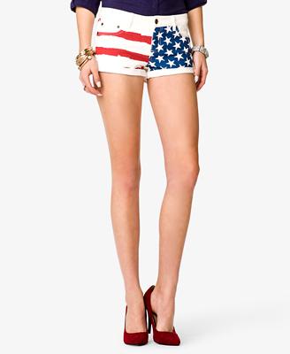 American flag print denim shorts