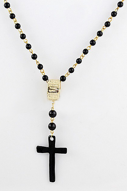ROMWE | Beaded Cross Drop Necklace, The Latest Street Fashion