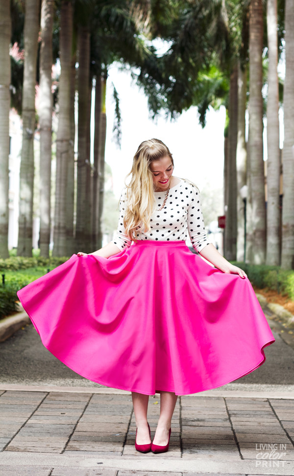 living in color print skirt shoes shirt jewels