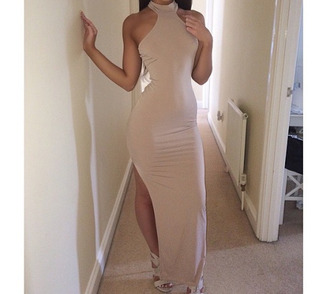 dress nude nude dress bodycon dress bodycon tan crop tops maxi dress style fashion tank top halter dress beautiful long dress date outfit
