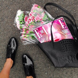 bag shoes crocodile black oxfords patent brouges