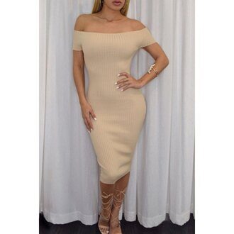 dress fashion style nude trendy midi dress stylish clothes off the shoulder summer beige hot sexy rose wholesale-jan bodycon dress bodycon tan girl sexy dress