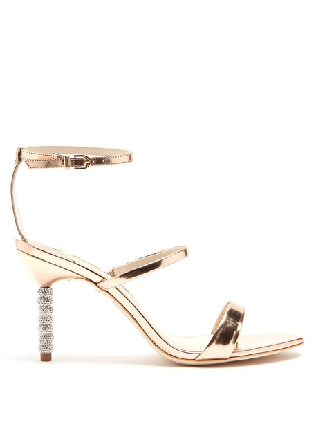 Sophia Webster heel embellished sandals leather sandals leather rose gold rose gold shoes