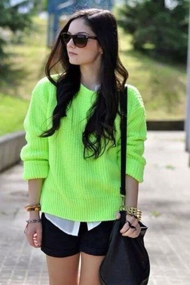 sweater green fashion green sweater white black skirt blackskirt gold blogger