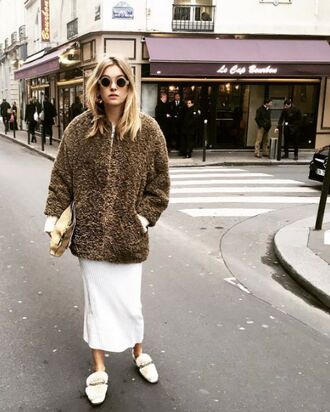 coat tumblr fuzzy coat camel coat bag nude bag pouch dress midi dress white dress loafers furry shoes white shoes shoes winter coat sunglasses round sunglasses camel fluffy coat teddy bear coat