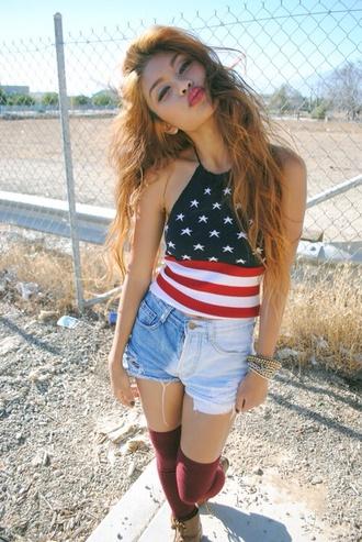 shirt top shorts american flag american flag crop top underwear