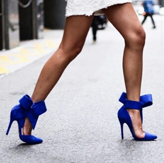 shoes blue shoes high heels 6 inch heels high shoes bows