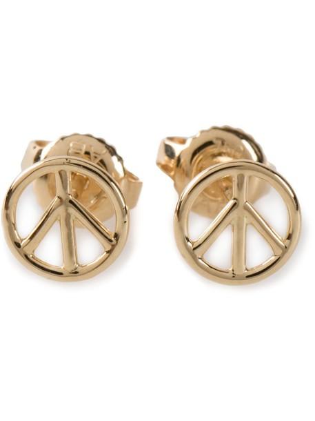 AURELIE BIDERMANN women peace earrings gold grey metallic jewels