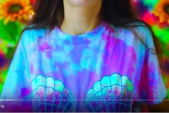 shirt tie dye mermaid shell neon neon blue holographic grunge neon purple t-shirt blue purple