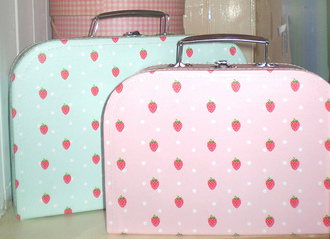 bag strawberry kawaii pastel purse pink blue polka dots