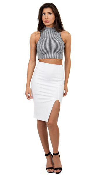 White slit midi pencil skirt