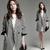 Hot Fashion Houndstooth Lapel Women Long Jacket Coat Overcoat Outerwear S M L XL | eBay