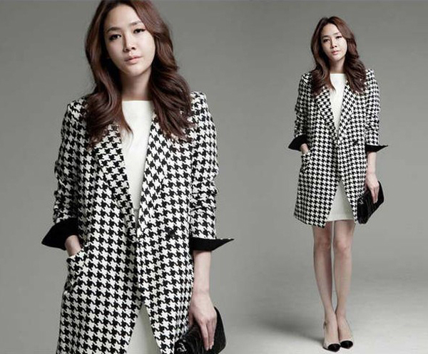 Hot Fashion Houndstooth Lapel Women Long Jacket Coat Overcoat Outerwear S M L XL | eBay